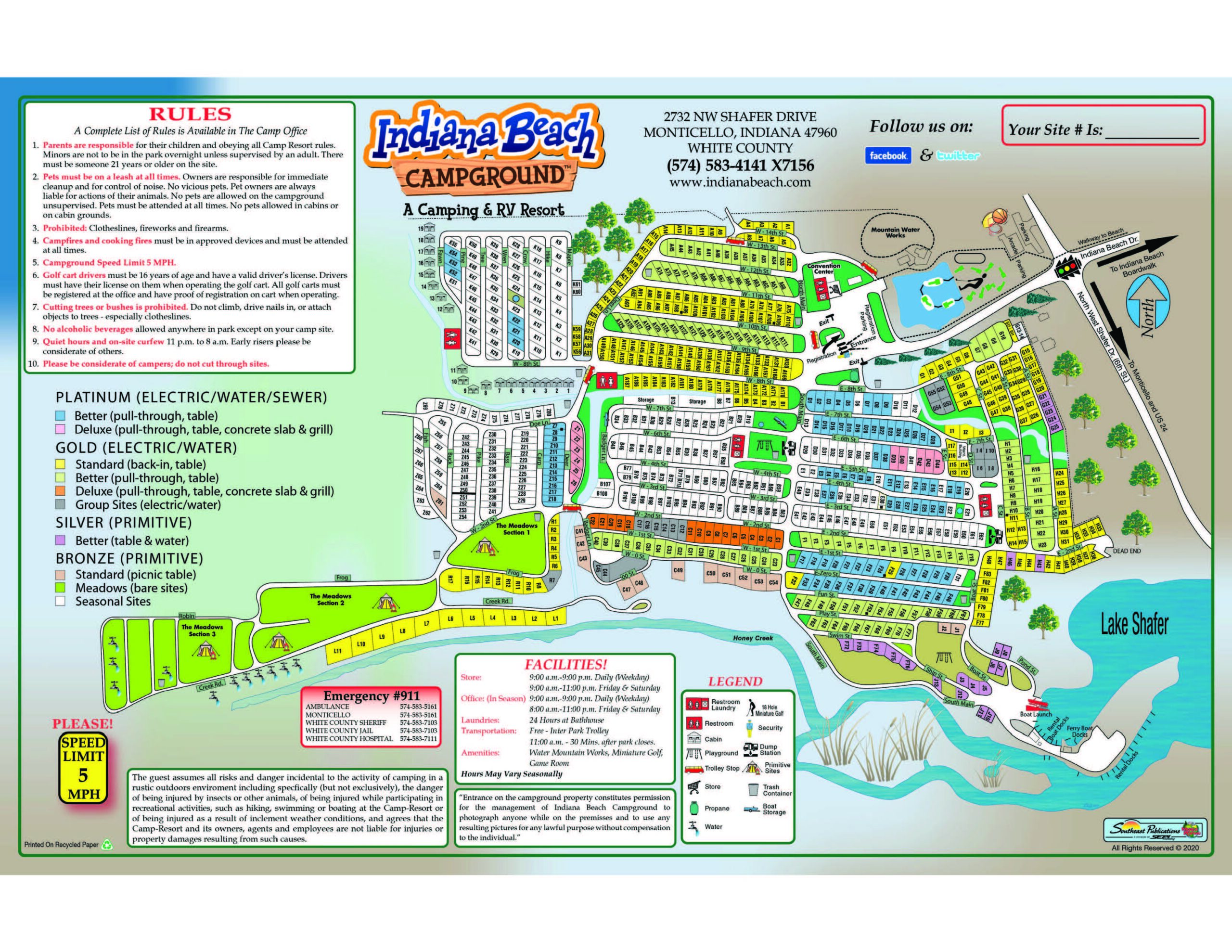 2021 Indiana Beach Campground Map1page
